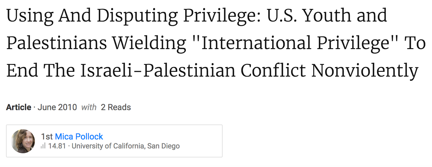 "Using And Disputing Privilege: U.S. Youth and Palestinians Wielding ""International Privilege"" To End The Israeli-Palestinian Conflict Nonviolently."