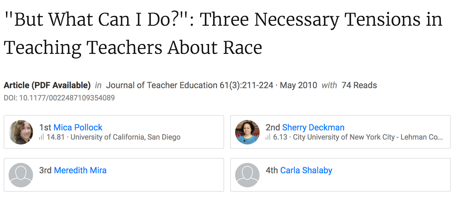"""""""But What Can I Do?"""": Three Necessary Tensions in Teaching Teachers About Race."""