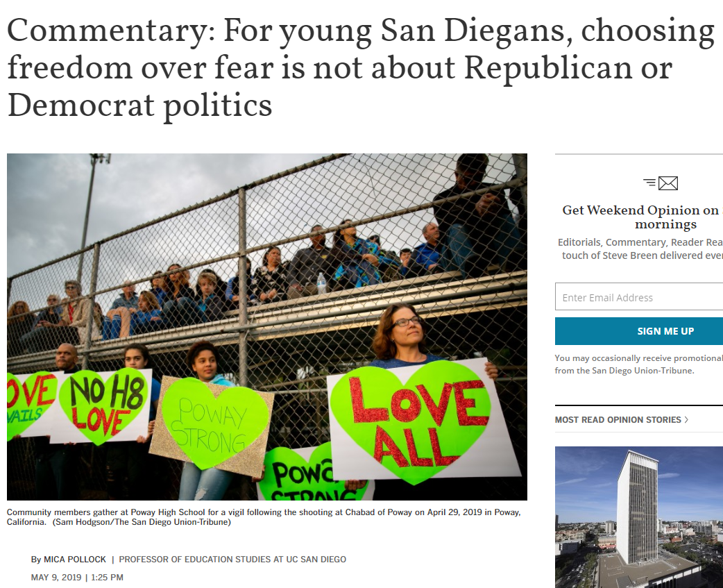 """Commentary: For Young San Diegans, Choosing Freedom Over Fear is Not About Republican or Democrat Politics."""