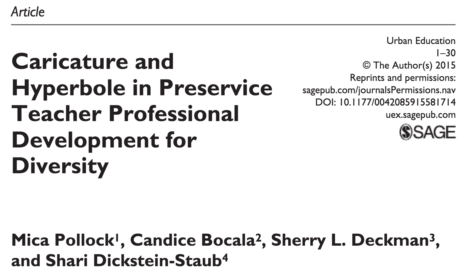 Caricature and Hyperbole in Preservice Teacher Professional  Development for Diversity.
