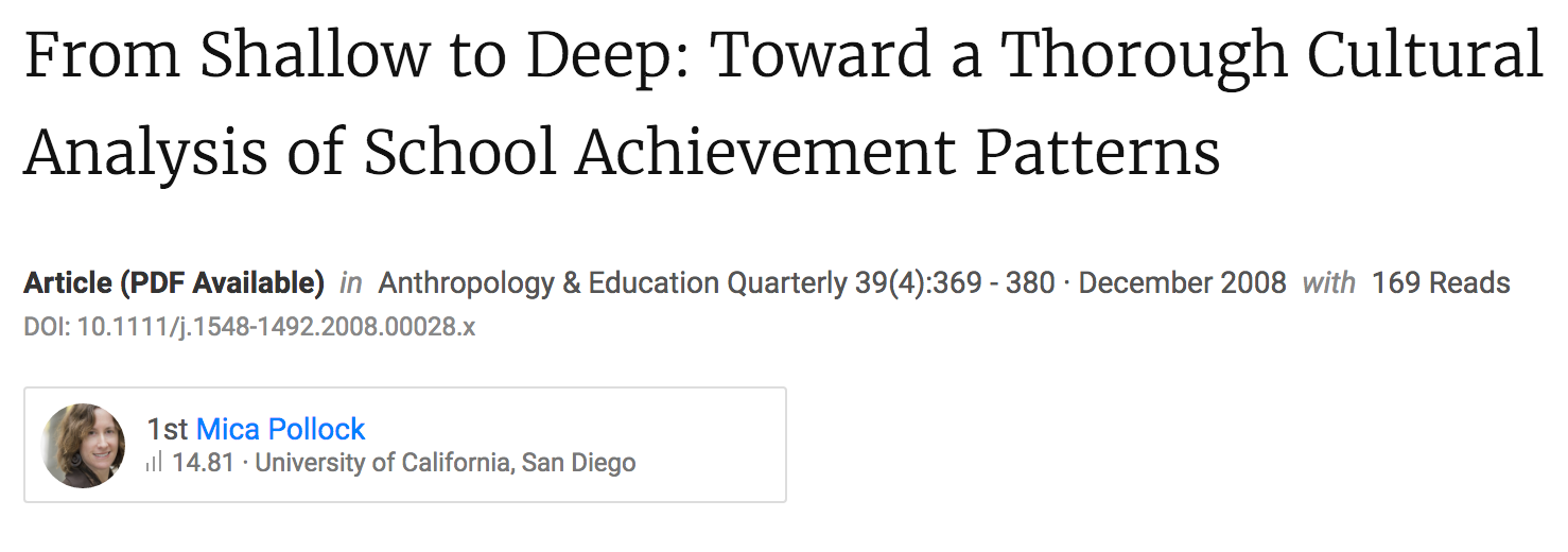 From Shallow to Deep: Toward a Thorough Cultural Analysis of School Achievement Patterns.
