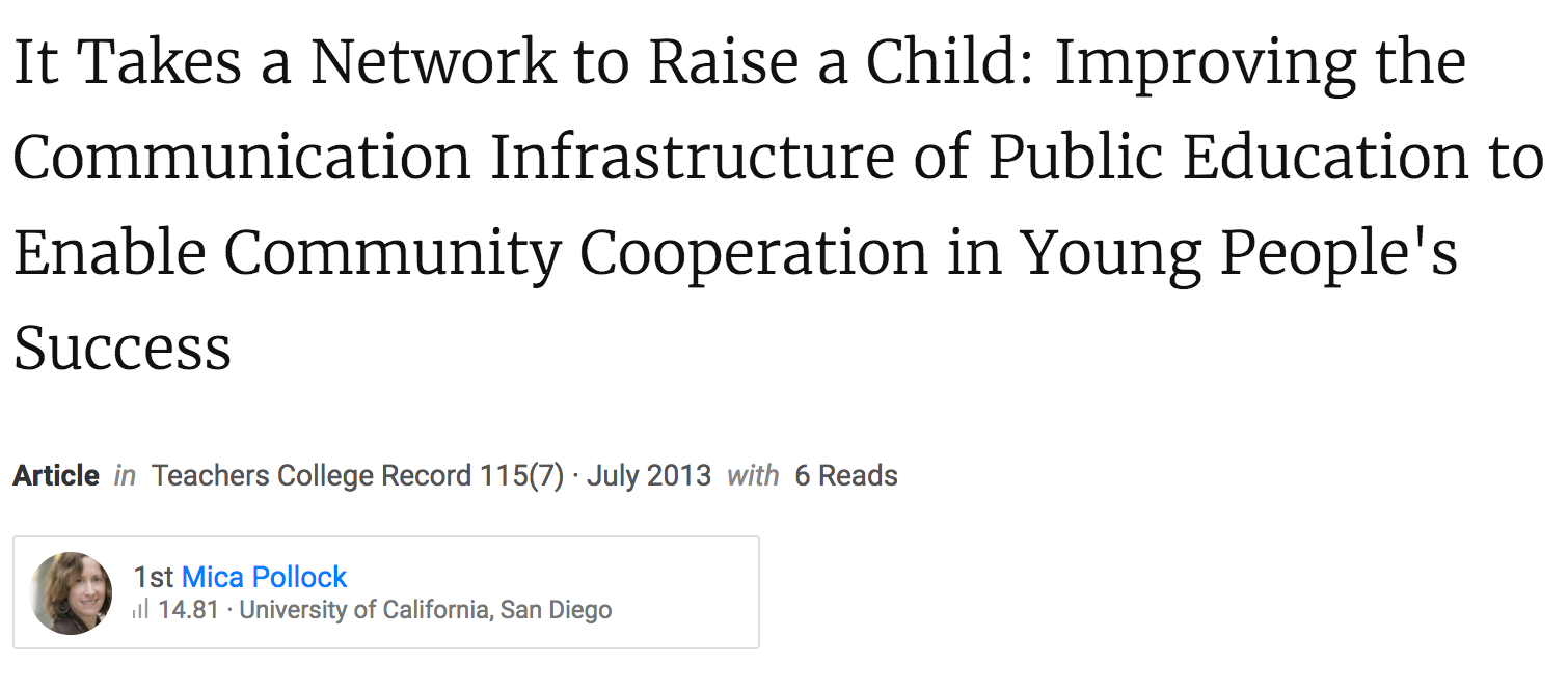 It Takes a Network to Raise a Child: Improving the Communication Infrastructure of Public Education to Enable Community Cooperation in Young People's Success.