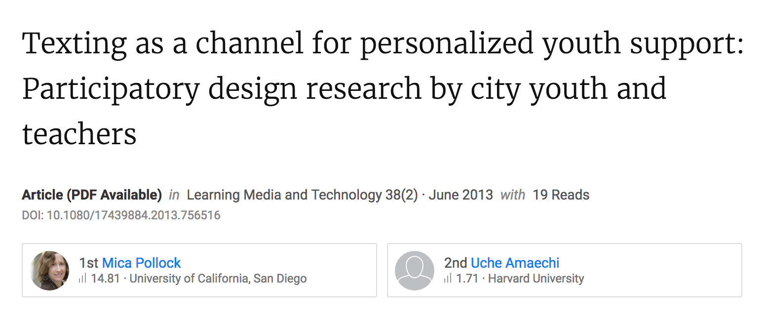 Texting as a Channel for Personalized Youth Support: Participatory Design Research by City Youth and Teachers.