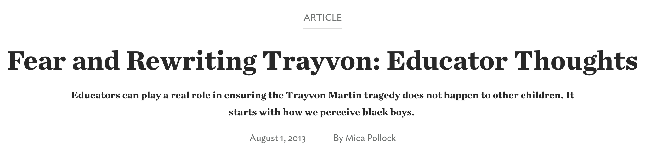 Fear and Rewriting Trayvon: Educator Thoughts.