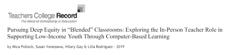 """Pursuing Deep Equity in """"Blended"""" Classrooms"""